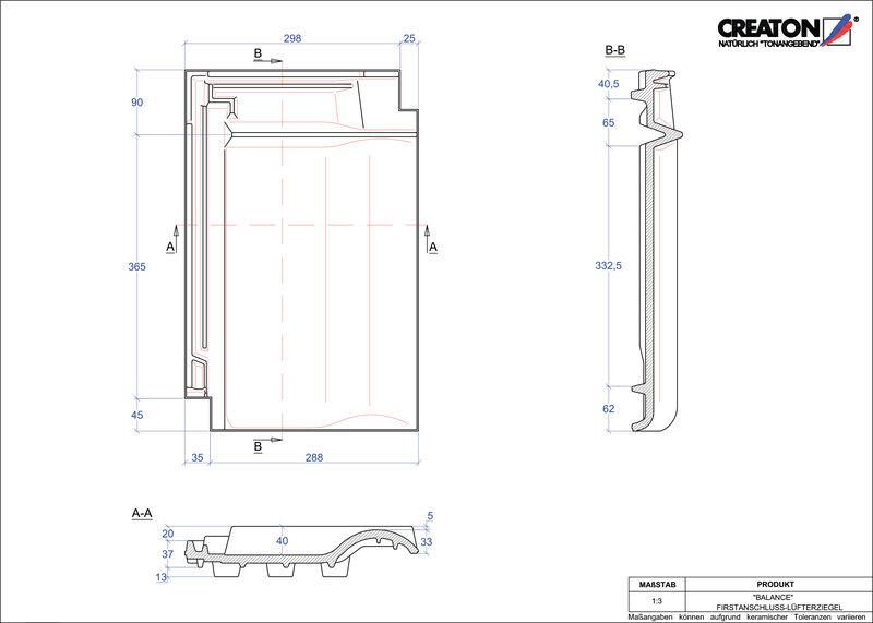 CAD soubor tašky BALANCE podhřebenová větrací taška FALZ